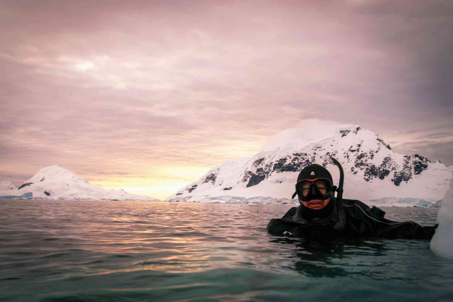Diving at sunset, Antarctica by Aurora Expeditions