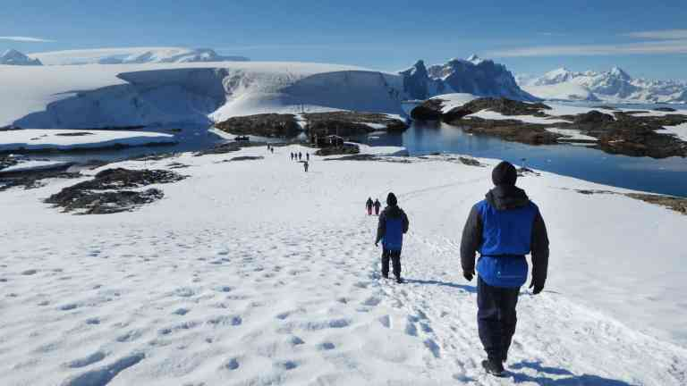 Landing ashore in Antarctica by Aurora Expeditions