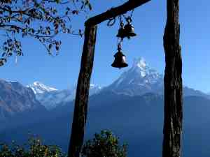 Annapurnas and Temple Bells, Nepal
