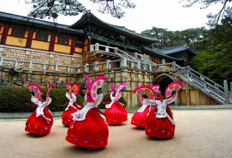 Fan Dance at Bulguksa Temple, South Korea by Korea Tourism Organisation