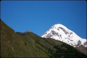 Mt. Kazbegi and Gergeti Church, Georgia by Nene Samnashvili