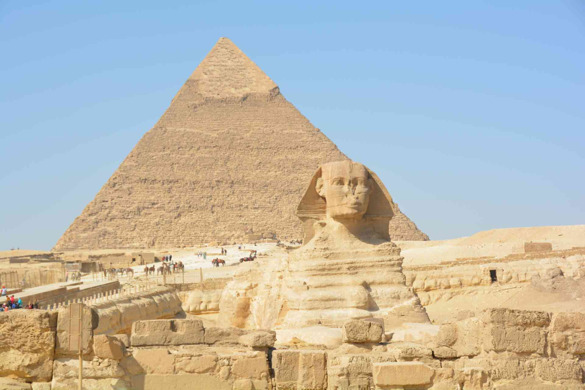 Great Pyramid and Great Sphinx of Giza, Egypt by Pam Frisari