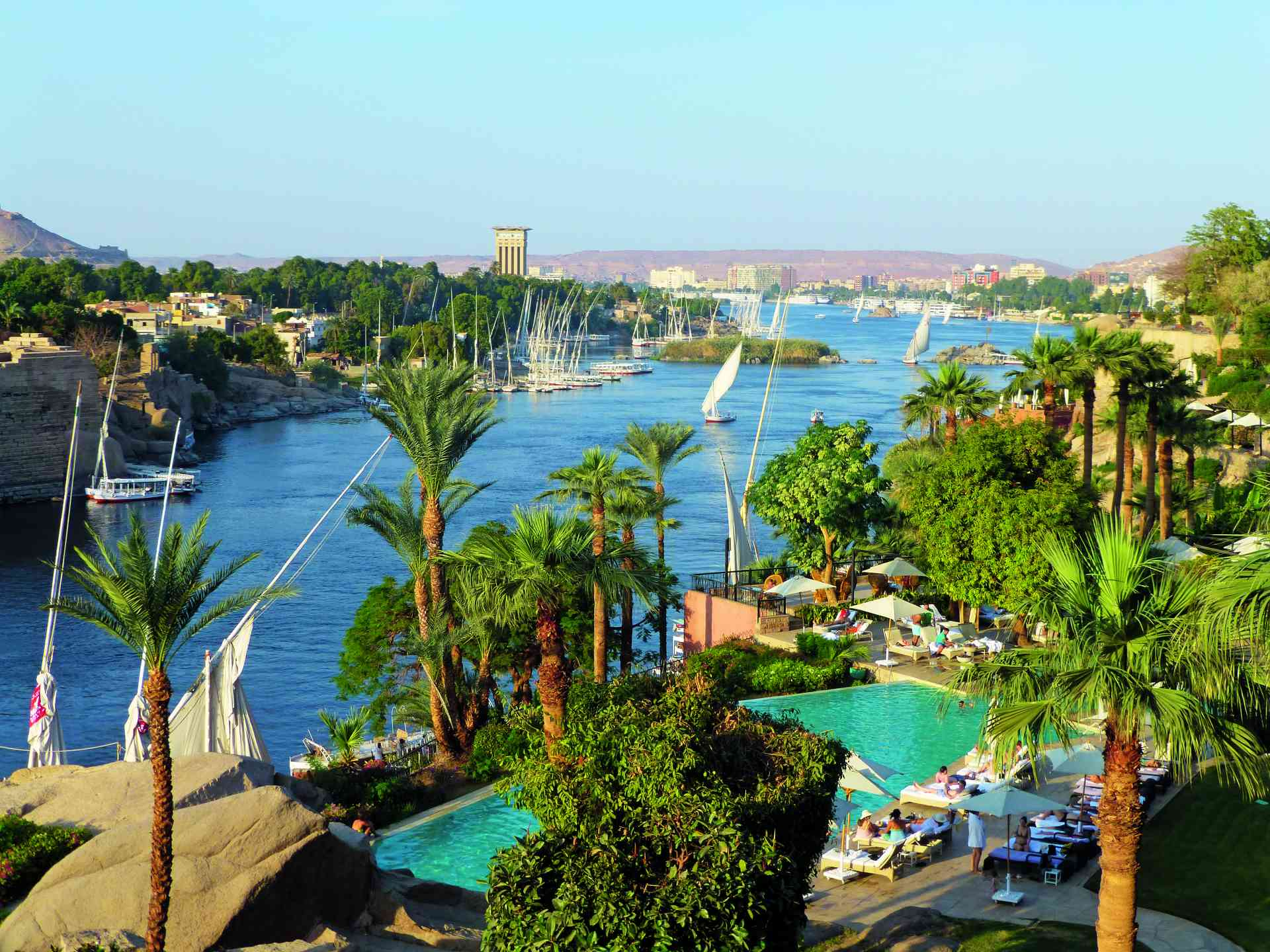 View over Nile from Old Cataract Hotel, Egypt