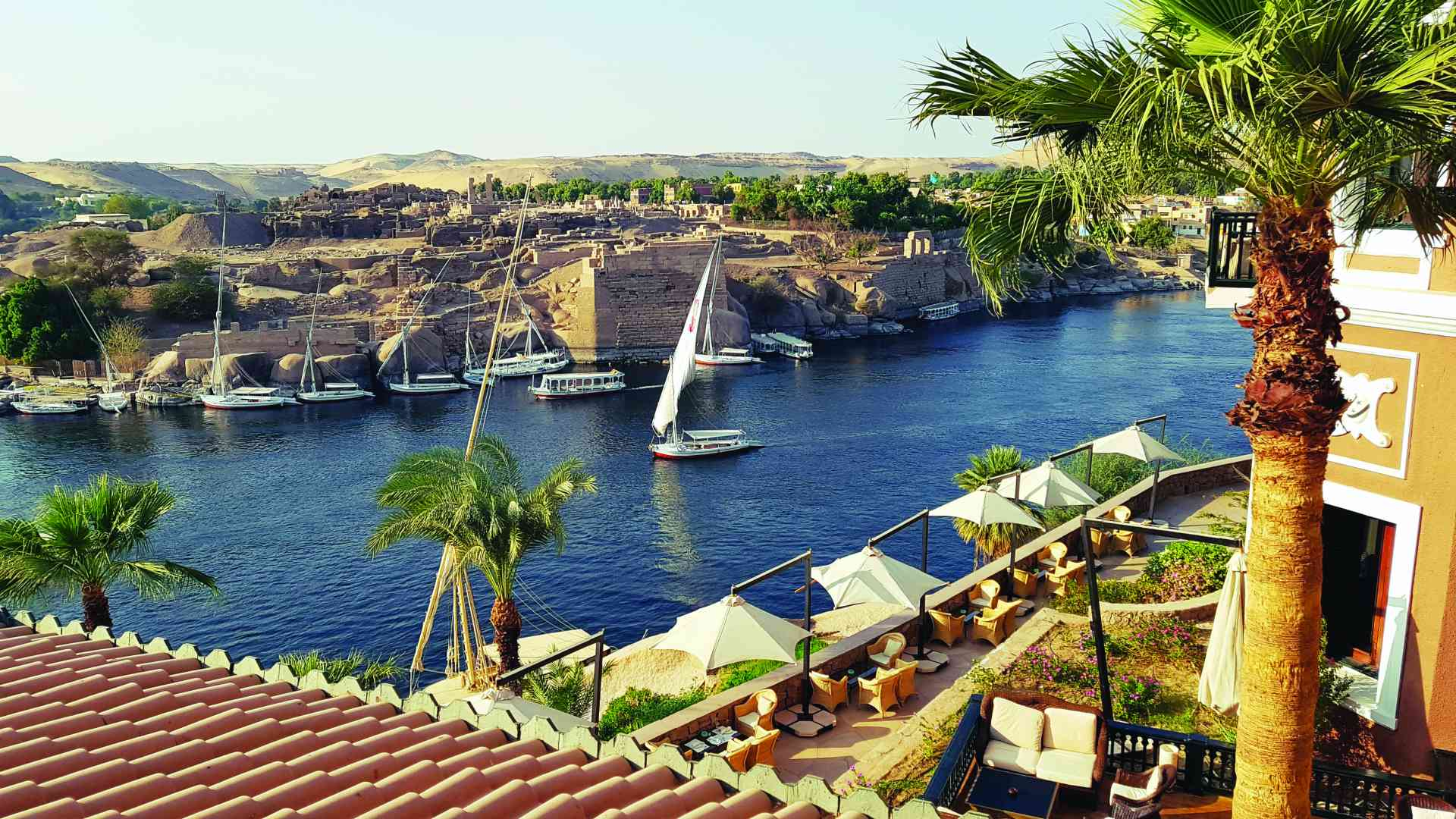 View over the Nile at the Old Cataract Hotel, Egypt