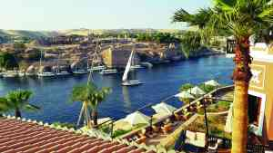 View over the Nile at the Old Cataract Hotel, Egypt by Dennis Bunnik