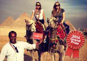 Congratulations to 2016 winner Jennifer M for this great shot with our fabulous guide Ibrahim at the Giza Pyramids in Egypt!
