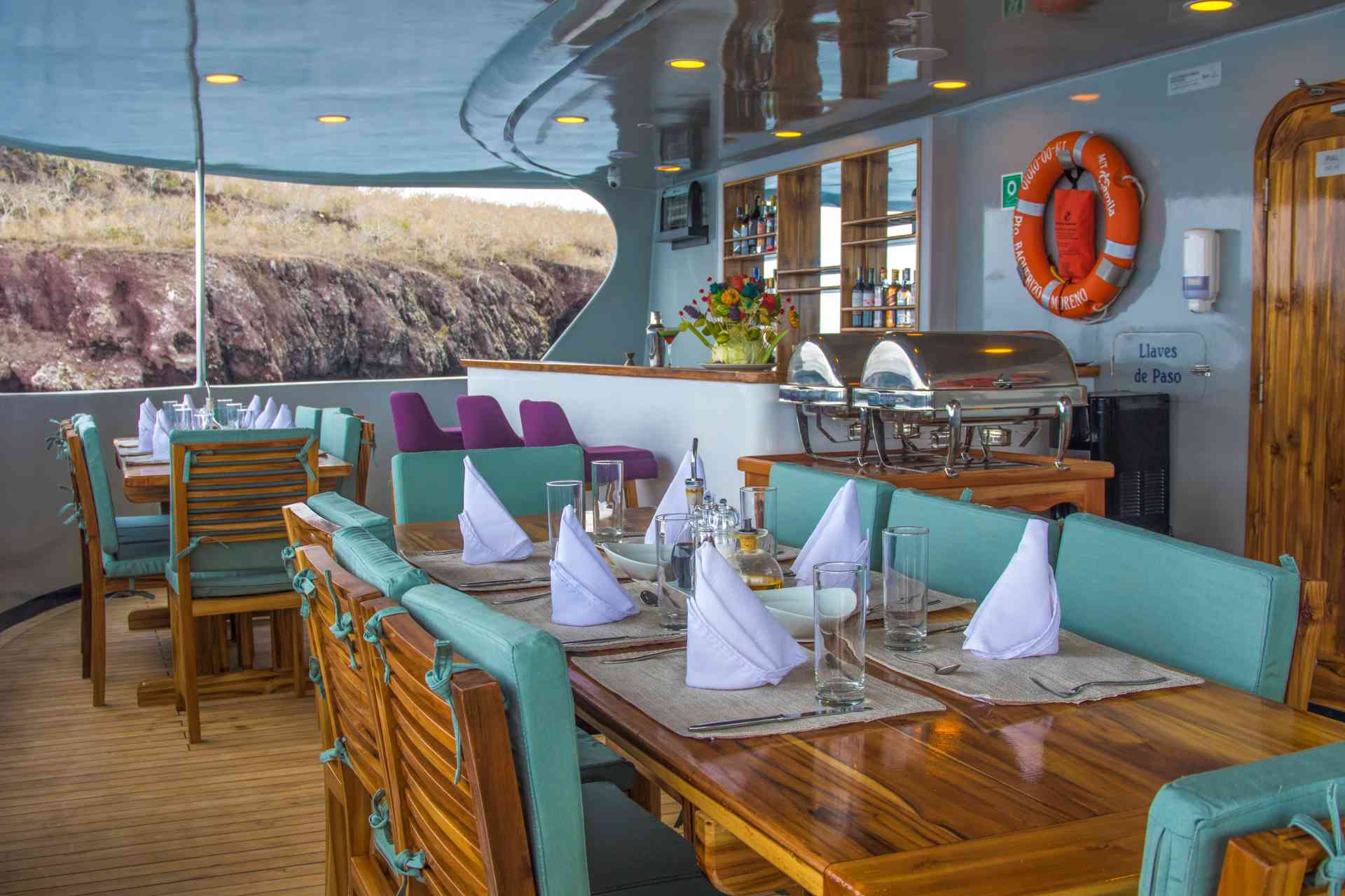 Camila luxury yacht BBQ area, Galapagos, Ecuador