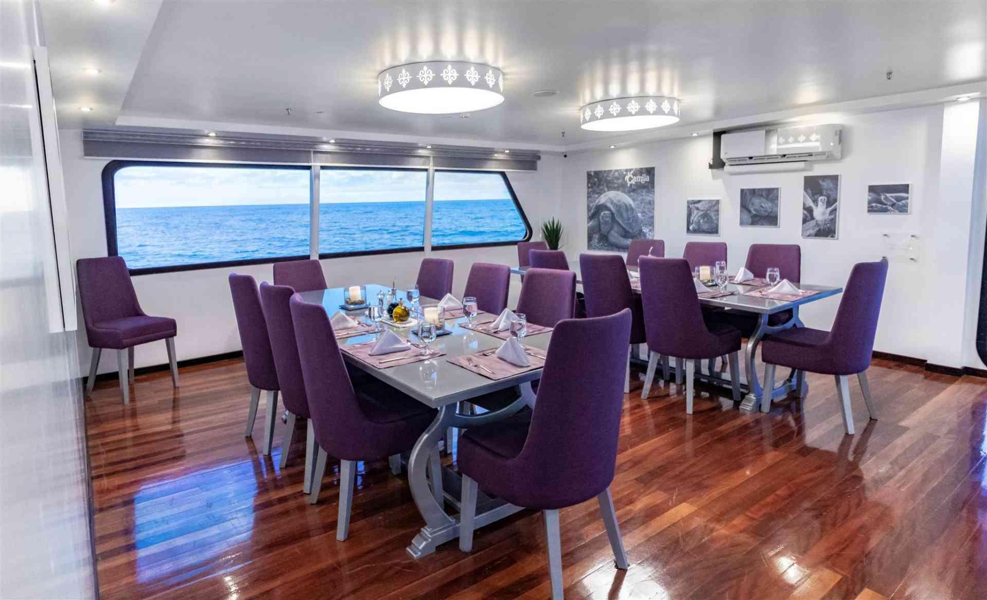 Camila luxury yacht dining area, Galapagos, Ecuador