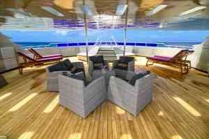Camila luxury yacht sun deck, Galapagos, Ecuador