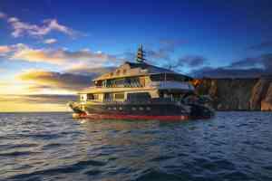 Camila luxury yacht at sunset, Galapagos, Ecuador
