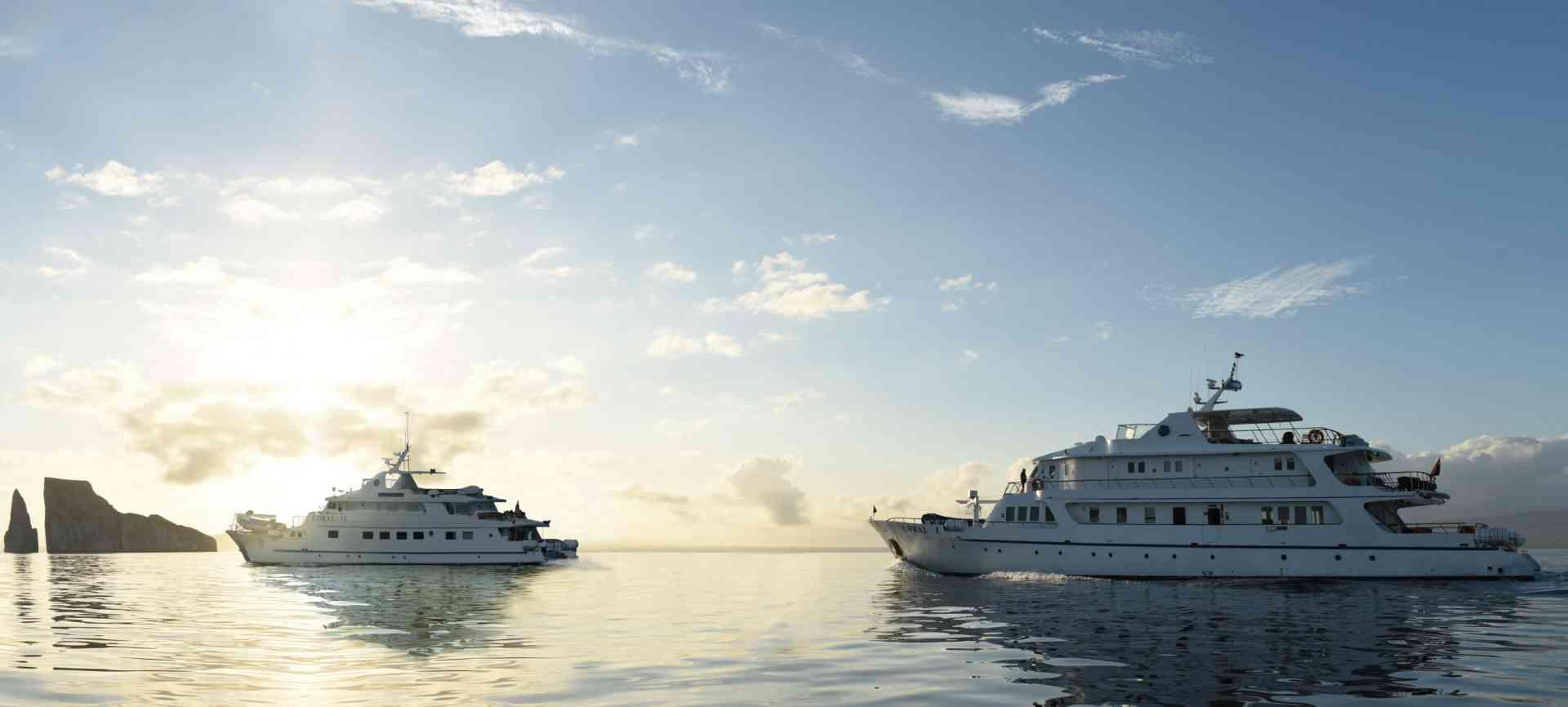 Coral I & II yachts at sunset, Galapagos, Ecuador