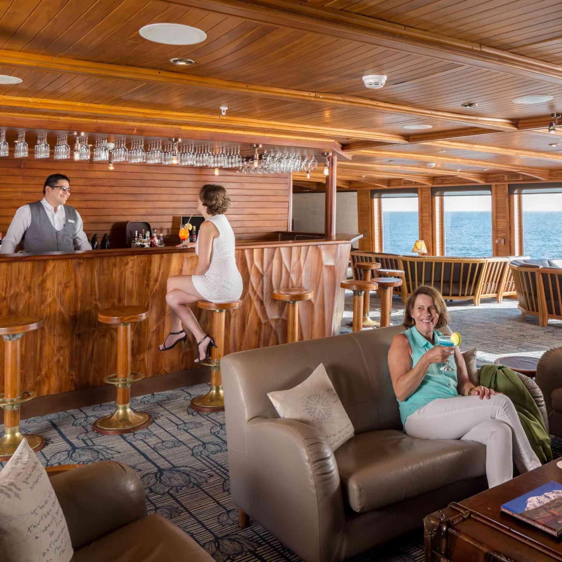 Galapagos Legend cruise ship lounge bar, Ecuador