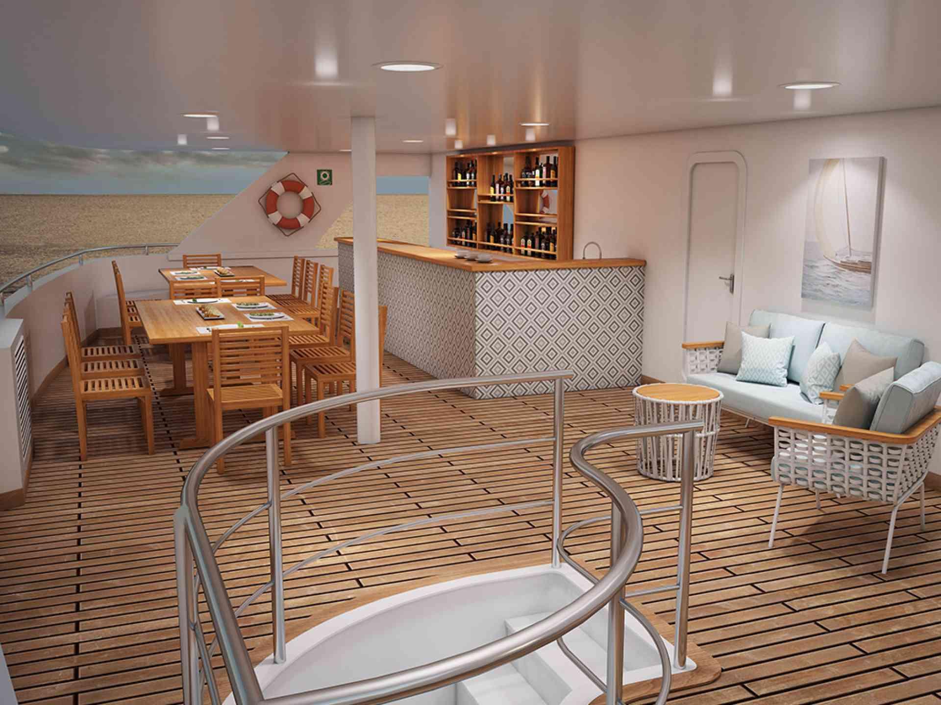 Ocean Spray luxury catamaran upper deck, Galapagos Islands, Ecuador
