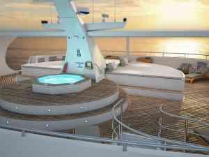 Ocean Spray luxury catamaran sun deck, Galapagos Islands, Ecuador