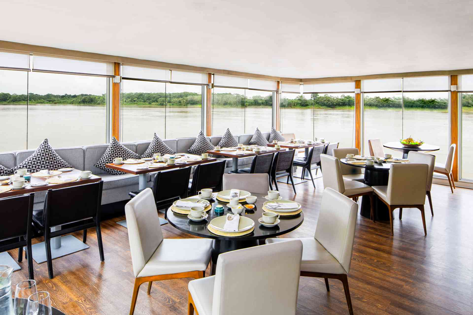 Aria Amazon dining room, Peru by Aqua Expeditions