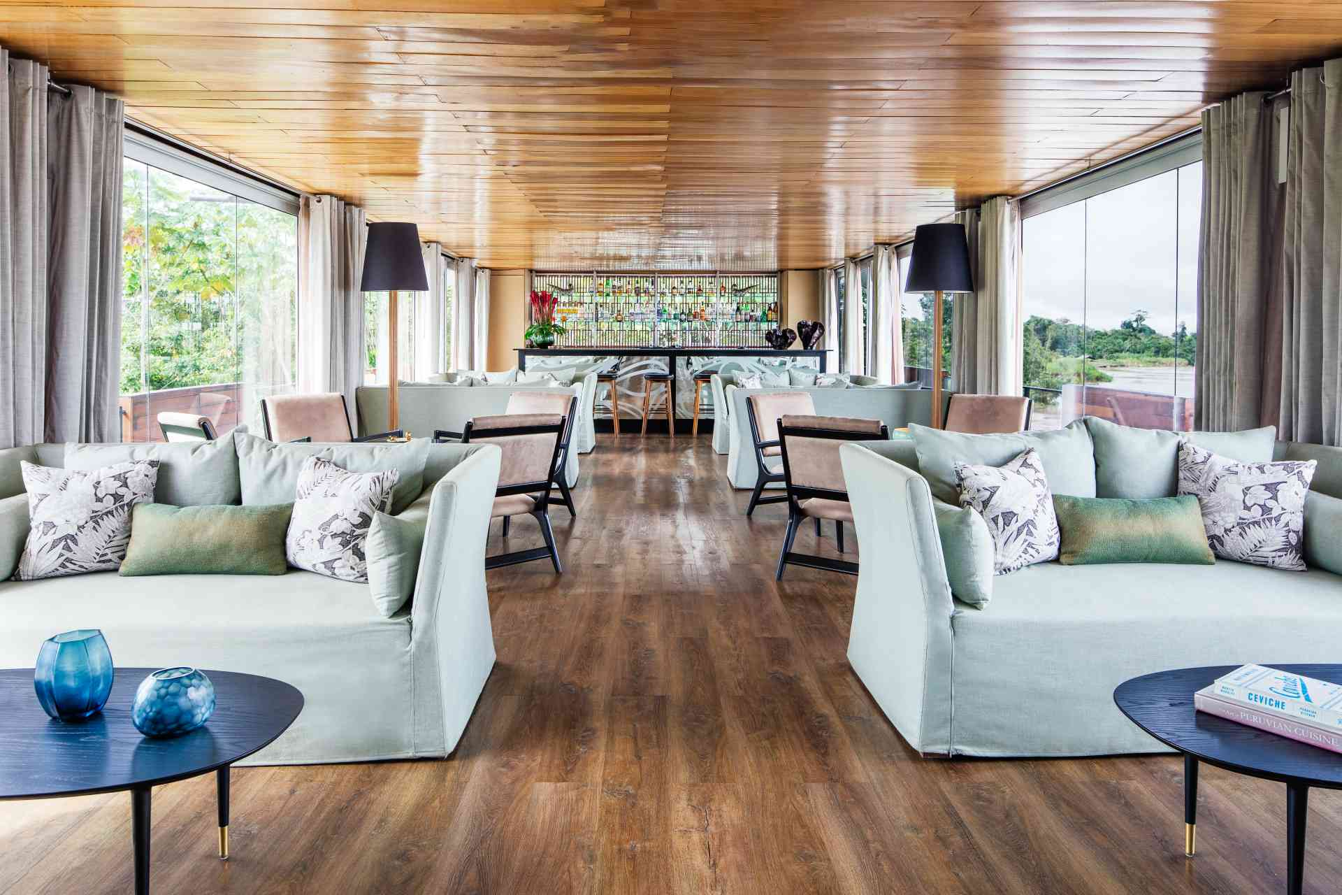 Aria Amazon lounge & bar, Peru by Aqua Expeditions