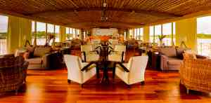 Delfin III cruise ship lounge, Peru by Delfin Amazon cruises