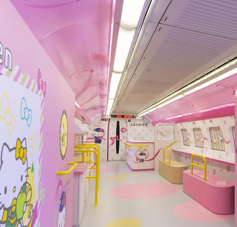 Inside Carriage 1 of the Hello Kitty bullet train