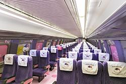Inside Carriage 2 of the Hello Kitty bullet train