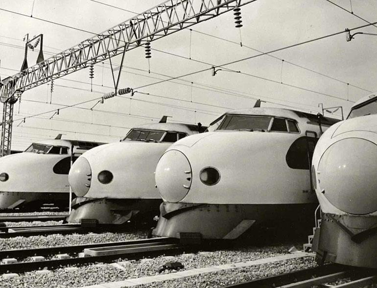 The first Shinkansen bullet train - the 0 series - made its debut in 1964