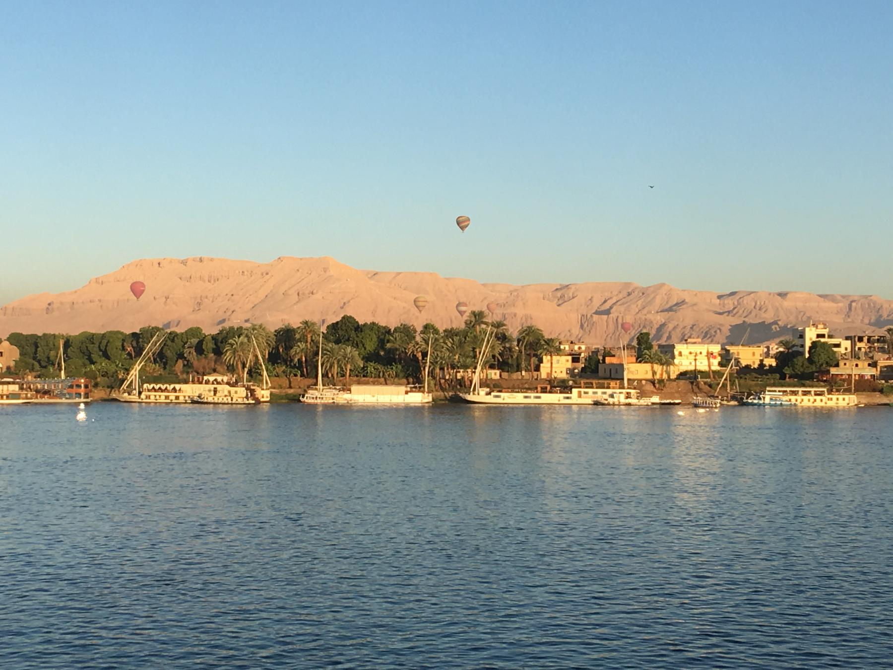 Balloons rising over the Valley of the Kings