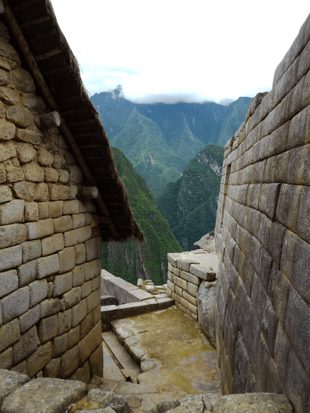 Steep stone staircases lead you from one section of Machu Picchu to another