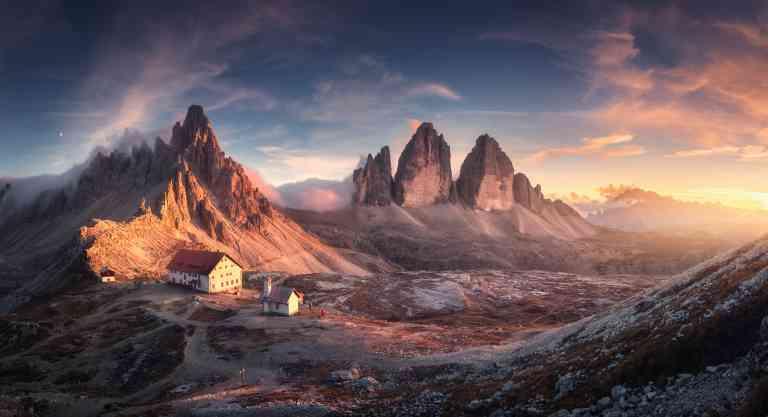 Tre Cime di Lavaredo mountains in the Dolomite ranges, Italy by Den-Belitsky