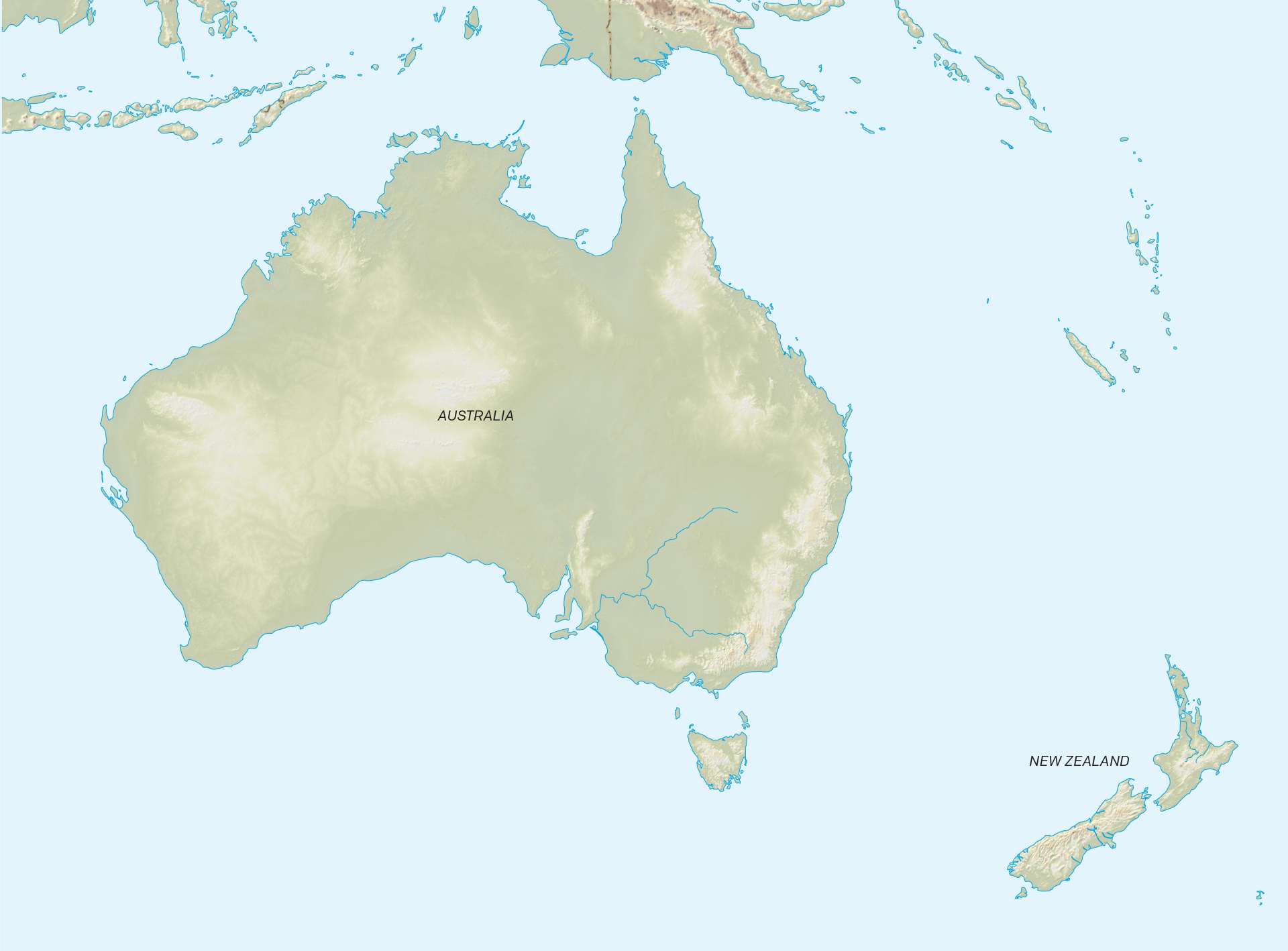 Map of Australia & New Zealand